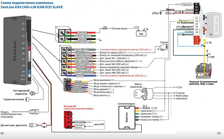 Схема подключения модуля starline
