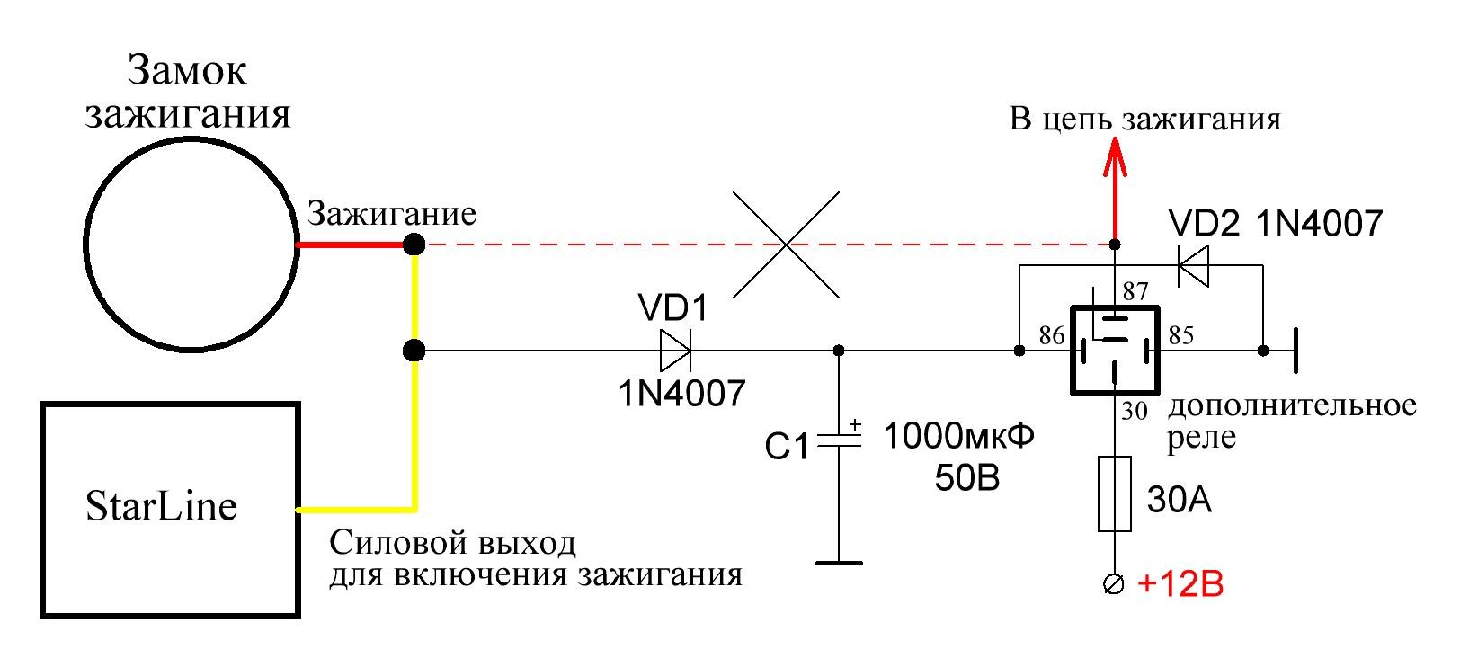 схема обходчика иммобилайзера без реле